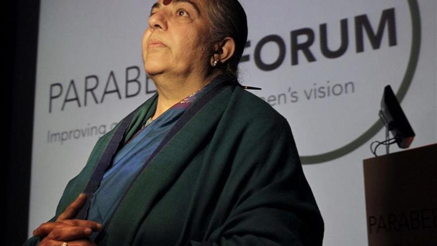 La activista india Vandana Shiva en su participación en el Parabere Forum./ Efe.