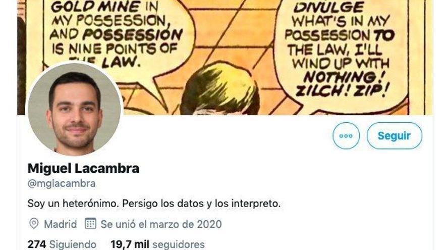 """Imagen del perfil de 'Miguel Lacambra' este sábado, en el que especifica que se trata de un heterónimo. En versiones anteriores su biografía aseguraba que era """"periodista y economista"""" y haber trabajado en Radio Nacional y la Agencia EFE."""