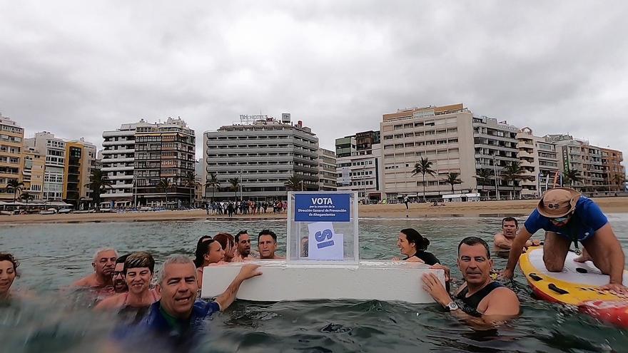 Acción para reivindicar más medidas de prevención contra los ahogamientos.