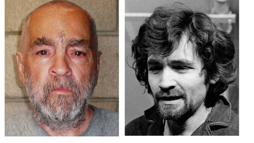 Dos fotografías de Charles Manson con 39 años de diferencia; la primera, en 2009, y la segunda, en 1970 / AP PHOTO \ RADIALPRESS