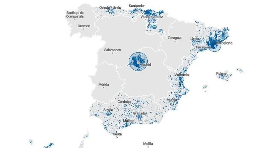 MAPA | Los casos confirmados de coronavirus, municipio a municipio, en Madrid, Catalunya y las comunidades que publican datos
