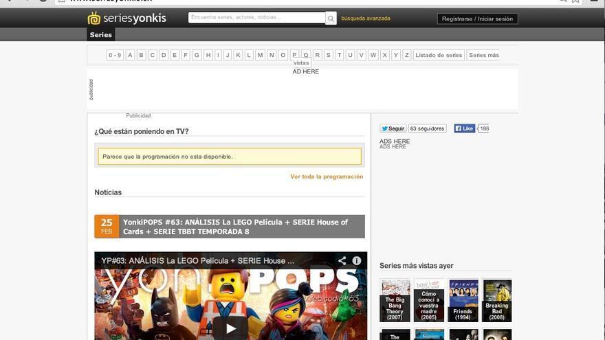 Captura de pantalla de Series Yonkis en su nuevo dominio .sx