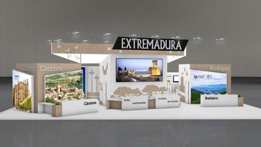 Maqueta del expositor de Extremadura en FITUR
