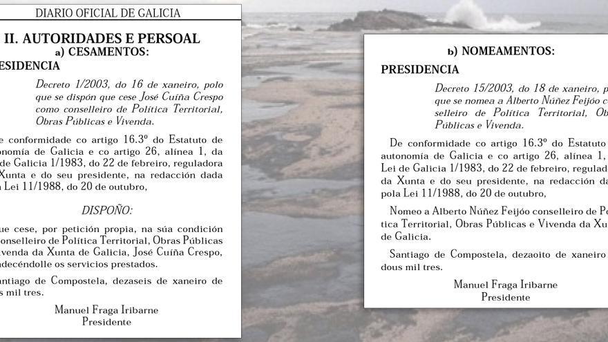 Decretos de cese de Cuiña y de nombramiento de Feijóo en enero de 2003