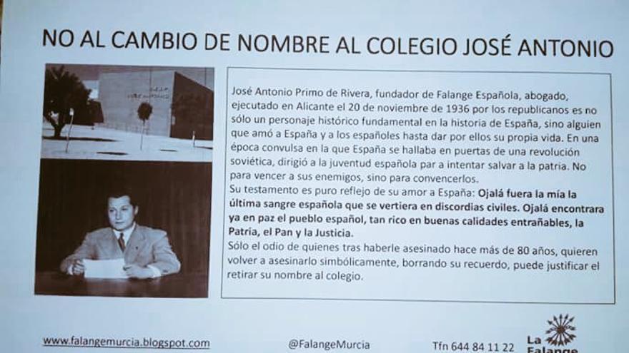 Panfleto contra el cambio de nombre del colegio José Antonio de Fuente el Álamo