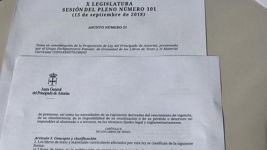 Imagen de la propuesta de ley del PP asturiano