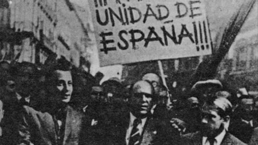 Fascistas catalanes durante el 6 de octubre del 1934