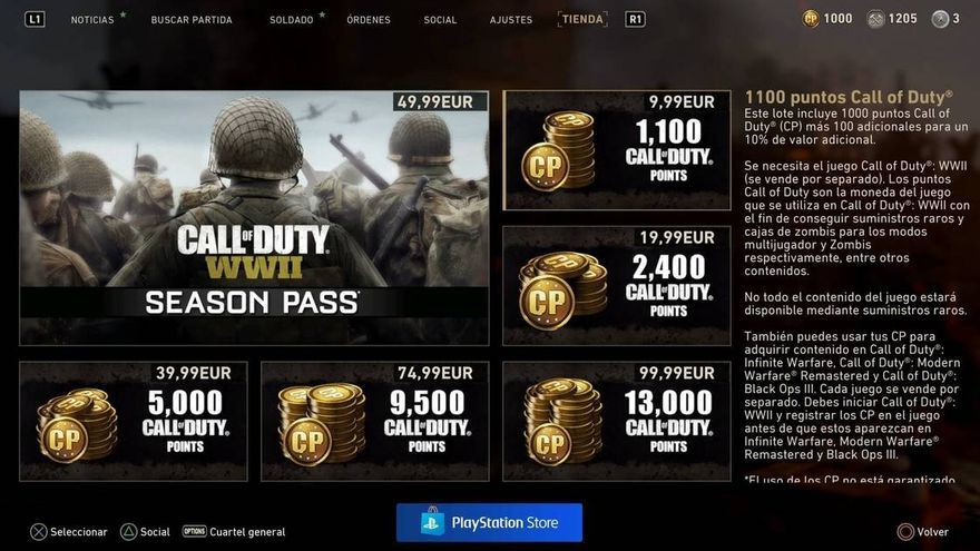 Precio de las monedas de Call of Duty: World War II