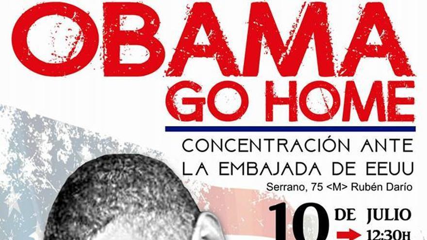 Cartel de una de las protestas organizadas por las Marchas de la Dignidad ante la visita de Obama a España.
