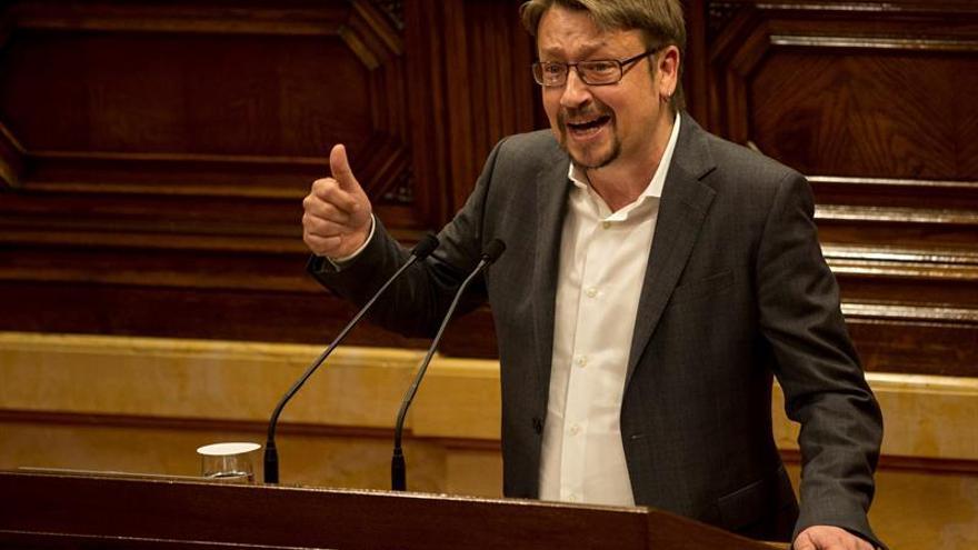 El líder de los comuns, Xavier Domènech, durante una intervención en el Parlament