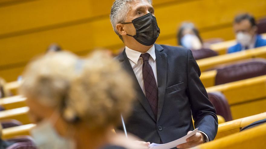 El ministro del Interior, Fernando Grande-Marlaska, interviene durante una sesión de control al Gobierno en el Senado.