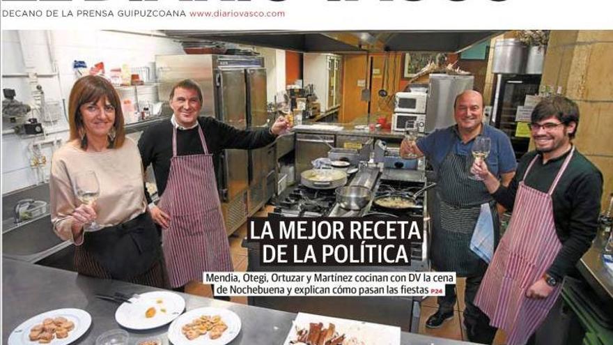 Portada del Diario Vasco con Idoia Mendia y Arnaldo Otegi