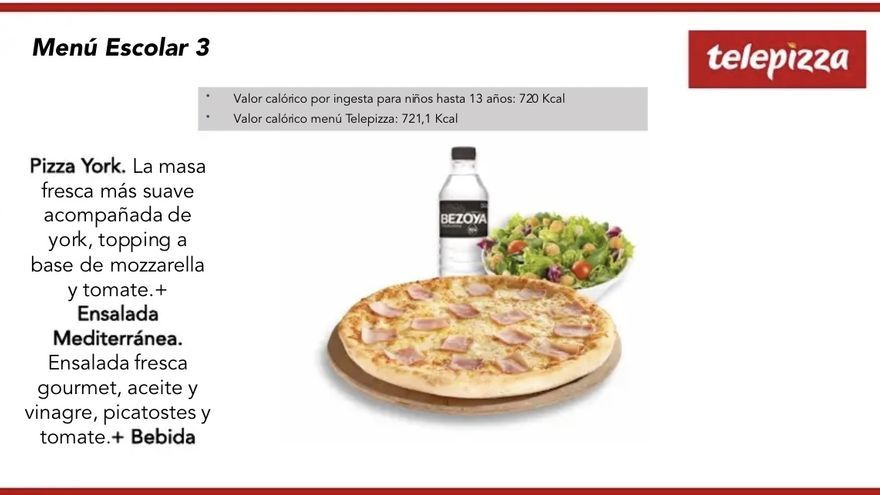 Uno de los menús de Telepizza que se repartirán para los menores en la Comunidad de Madrid.