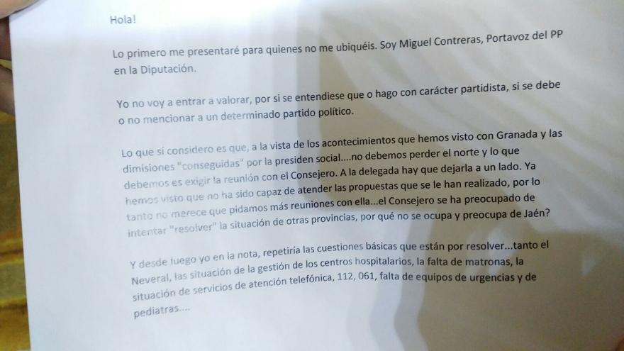 Carta PP-A en Jaén.