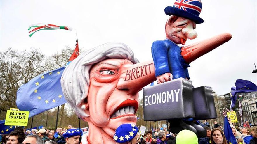 """La campaña """"People's Vote"""" ha convocado este sábado una manifestación en Londres en favor de la celebración de un segundo referéndum del brexit"""