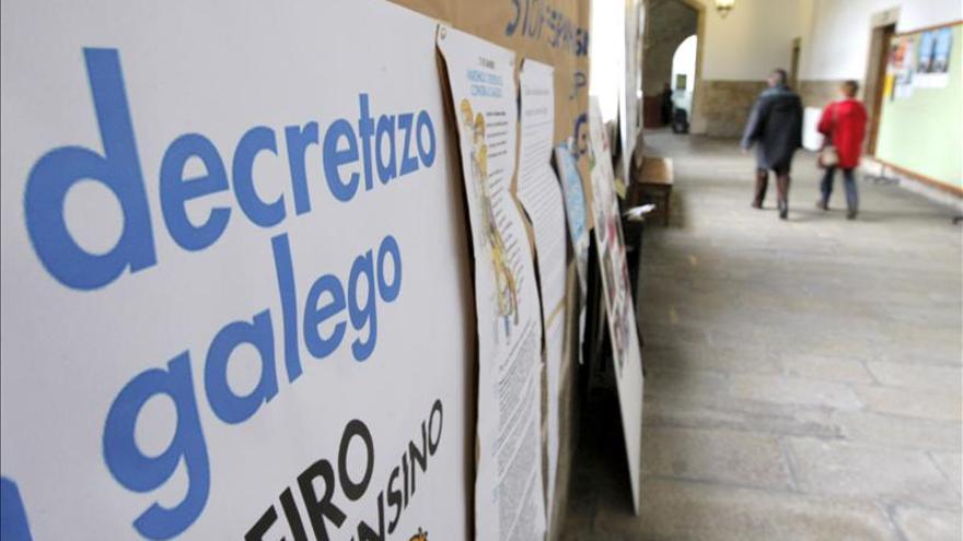 Carteles contra el decreto del plurilingüismo de la Xunta, en una imagen de archivo.