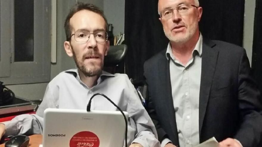 Pablo Echenique y Antonio Montiel, secretarios generales de Podemos en Aragón y la Comunitat Valenciana, respectivamente.