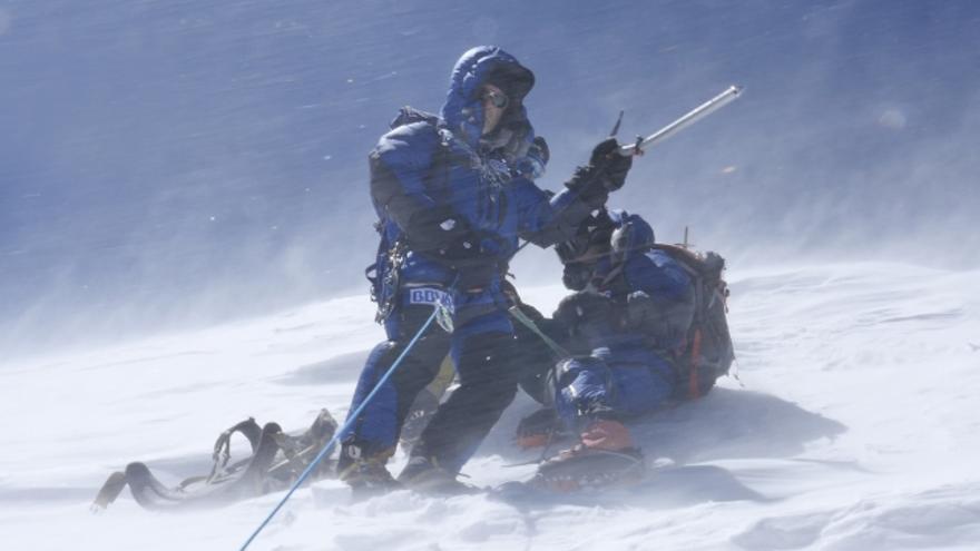 Carlos Soria en la cima del Annapurna.