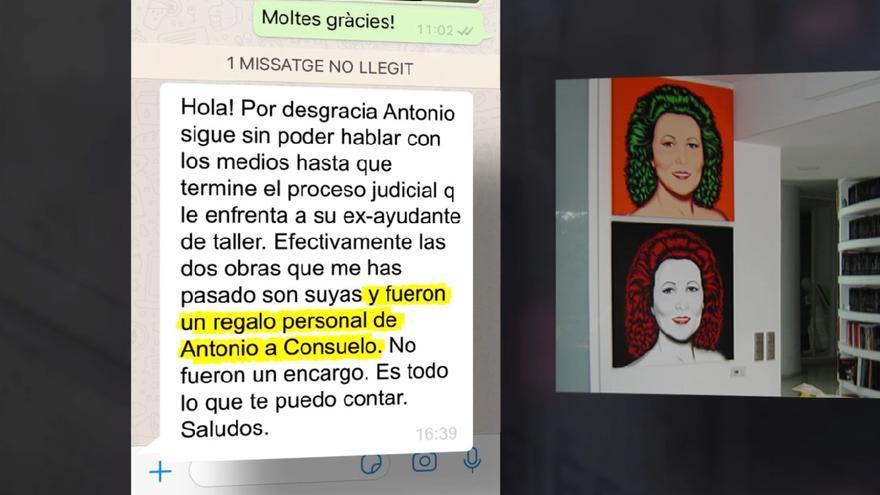 La representante de Antonio De Felipe reconoce que éste le regaló cuadros a Consuelo Císcar