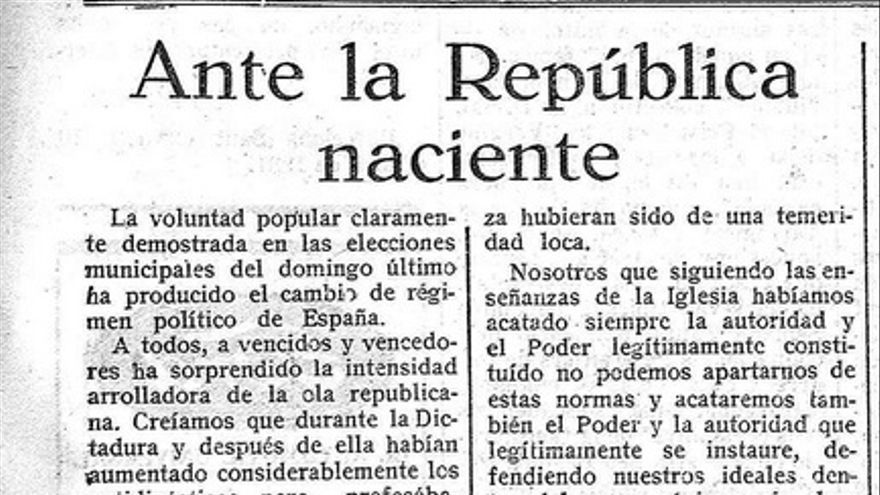 Editorial del diario La Cruz del 15 de abril de 1931