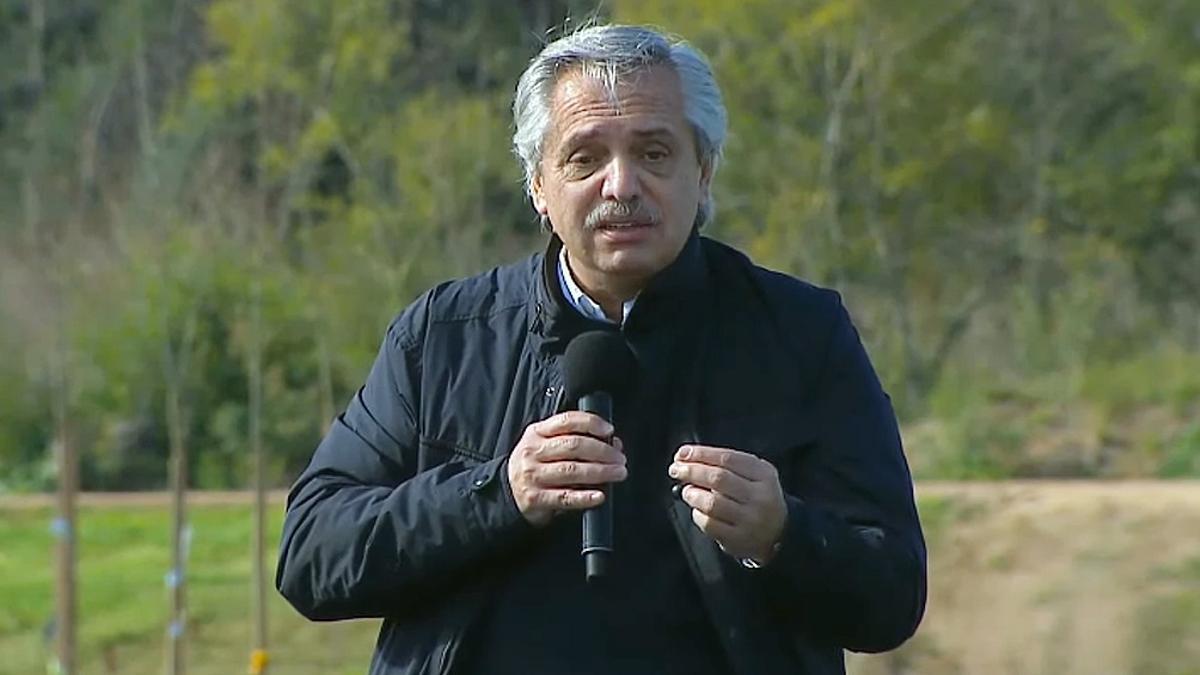 Alberto Fernández encabezó un acto en la ciudad bonaerense de Mercedes.