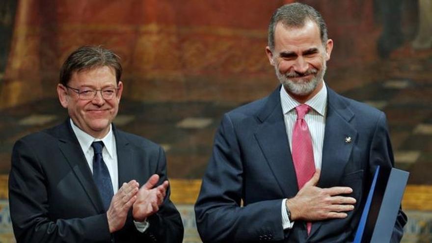 Felip VI i Ximo Puig en l'acte del Premi Broseta.