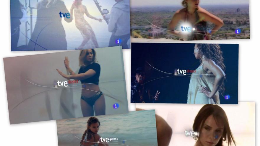 Modelos en poses sugerentes para recibir los Telediarios en TVE