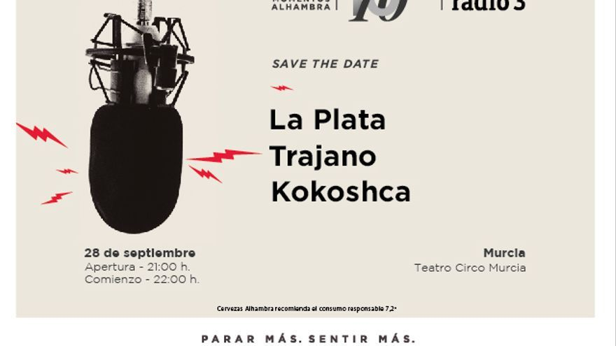 """Cervezas Alhambra trae a Murcia a La Plata, Trajano! y a Kokoshca en el cuarto concierto del ciclo """"Momentos Alhambra: 10 sobre 10"""""""