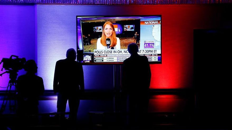 Seguidores de Donald Trump siguen los resultados en Nueva York (Estados Unidos).