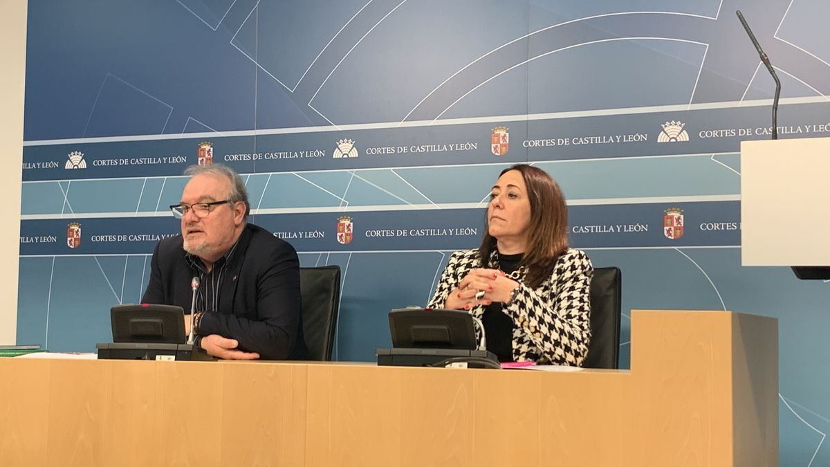 José Francisco Martín y Rosa Rubio, en la sala de prensa de las Cortes de Castilla y León.