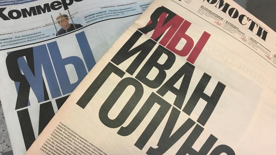 Portadas de los principales periódicos rusos piden la liberación del periodista Ivan Golonuv.