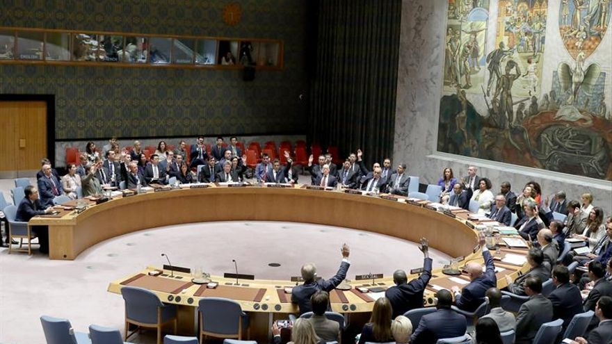 El Consejo de Seguridad de las Naciones Unidas vota, este lunes 11 de septiembre de 2017, la resolución acerca de las sanciones contra Corea del Norte en su sede en Nueva York (EEUU).