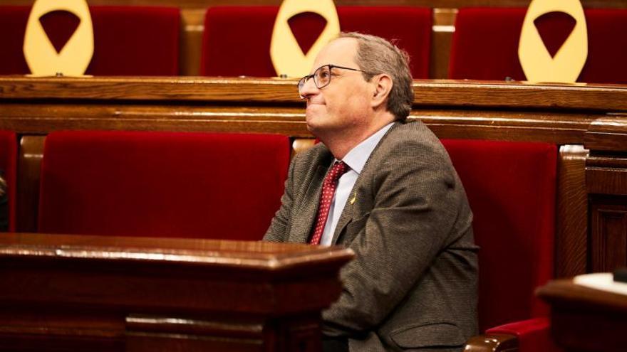 Torra alegó a la Junta Electoral que ya no hay esteladas ni lazos amarillos