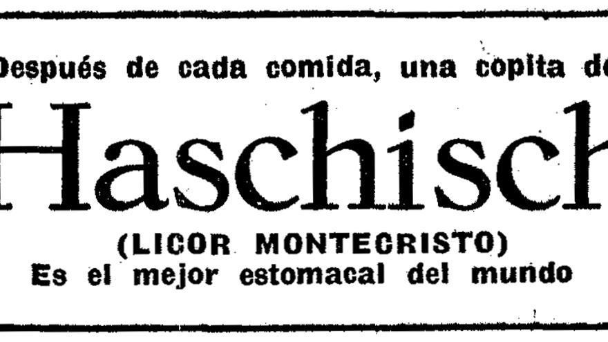 """Licor Montecristo, """"el mejor estomacal del mundo"""", anunciado en 'La Vanguardia' del 26 de noviembre de 1927."""
