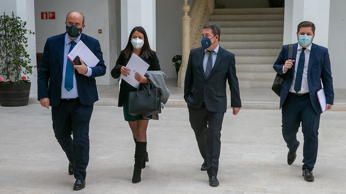 García-Page, hoy en el Palacio de Fuensalida con parte de su equipo de Gobierno