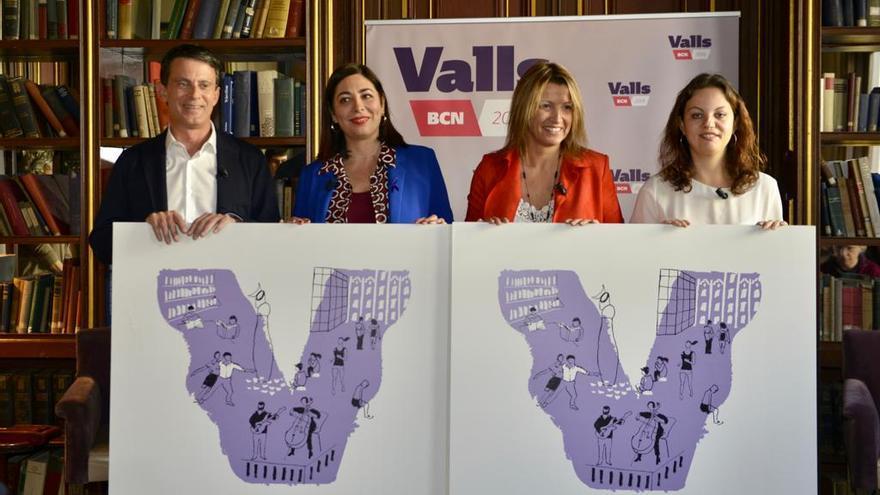 Manuel Valls, María Luz Guilarte, Eva Parera y Noemí Martín