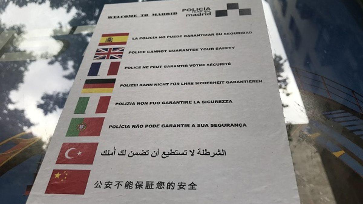 Cartel avisando de la falta de seguridad durante el Orgullo | SOMOS CHUECA