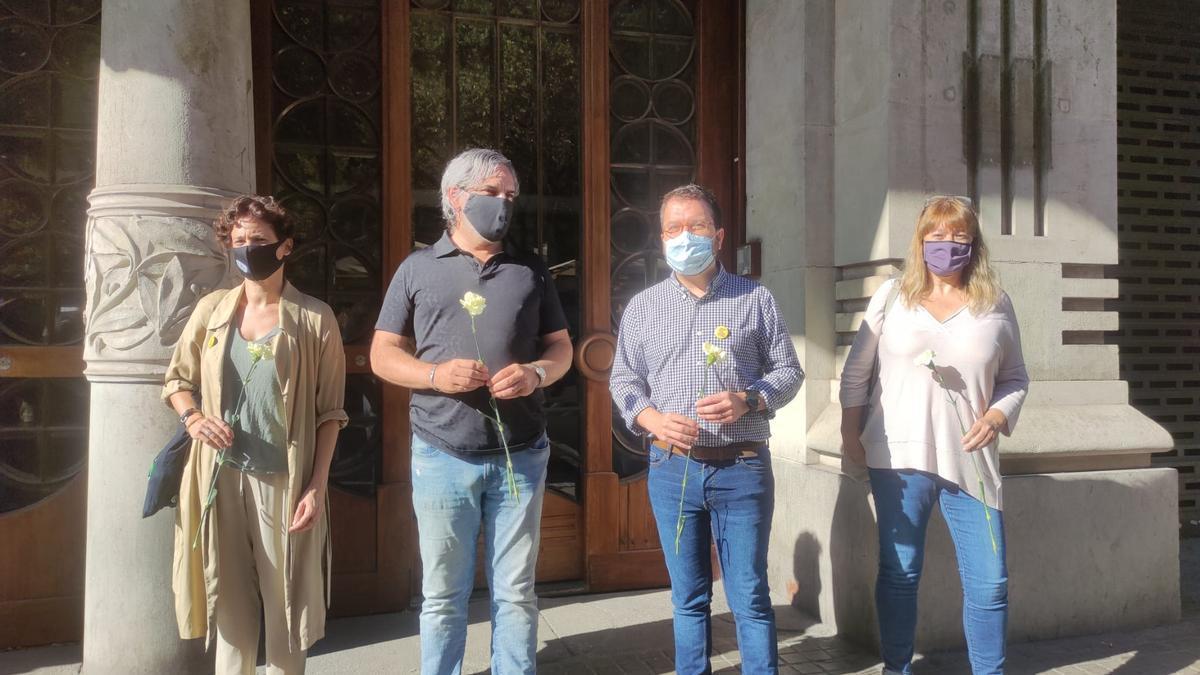 El vicepresidente del Govern, Pere Aragonès, ante la antigua sede de la Conselleria de Economía y Hacienda cuando se cumplen tres años de las protestas del 20S.