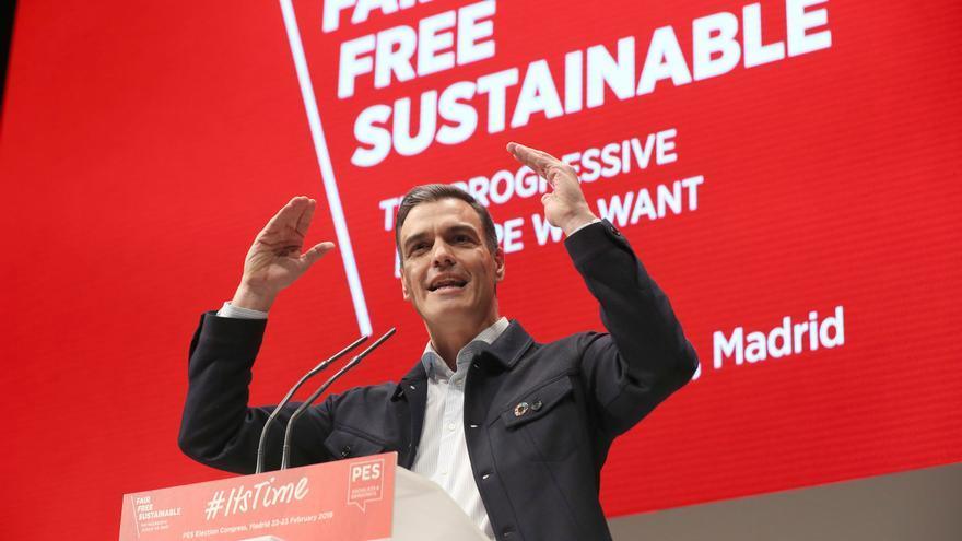 El secretario general del PSOE y presidente del Gobierno, Pedro Sánchez, durante su intervención en la última jornada de la convención del Partido Socialista Europeo (PES) que ha tenido lugar en Madrid.