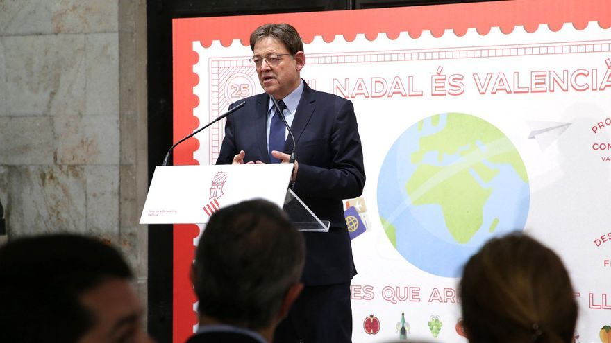 El president de la Generalitat, Ximo Puig, durante la presentación de la campaña navideña