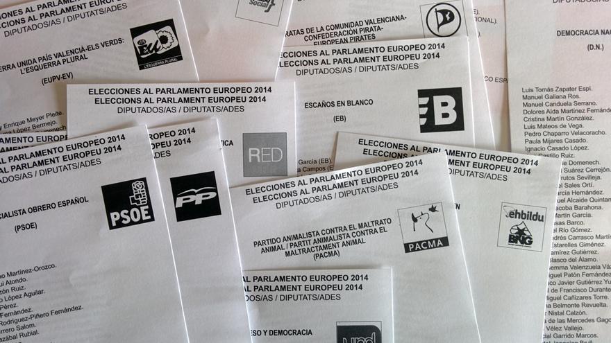 Papeletas electorales al Parlamento Europeo 2014