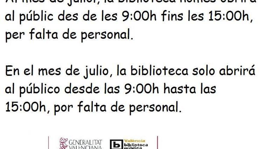 Aviso publicado en la página de Facebook de la Biblioteca Pública de Valencia