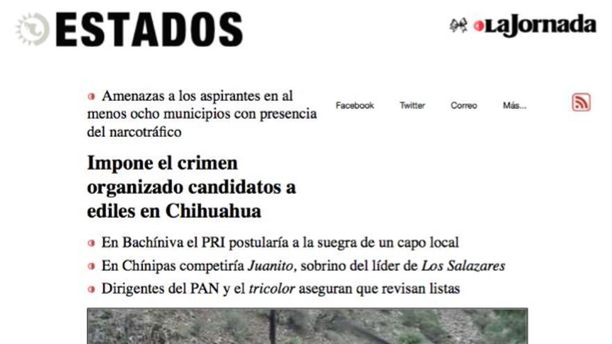 Reportaje de Breach por el que se intensificaron las amenazas en su contra. Impone el crimen organizado candidatos a ediles en Chihuahua. La Jornada, 04/03/2016