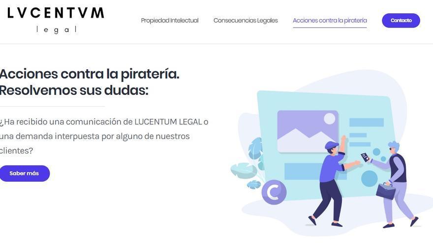 Página web de Lucentum Legal, una de las firmas de abogados que están enviando cartas a usuarios de Internet de toda España en las que les exigen un pago a cambio de no ir a juicio por copyright.