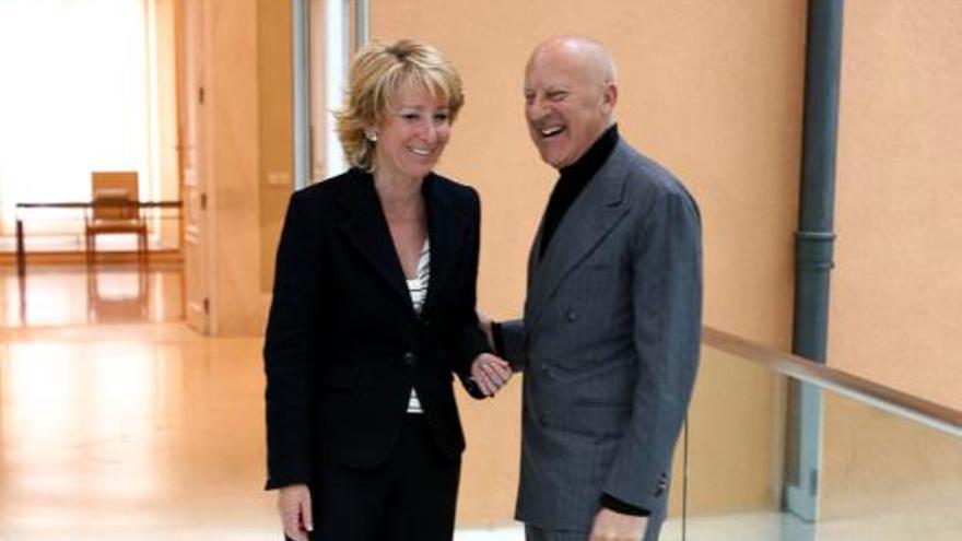 Sir Norman Foster y la expresidenta Esperanza Aguirre./MADRID.ORG