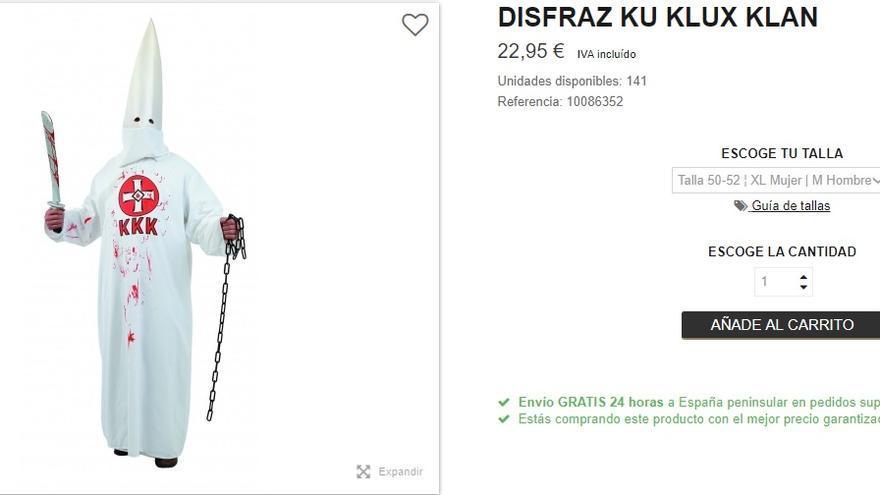 Disfraz de Ku Klux Klan en una página web de disfraces