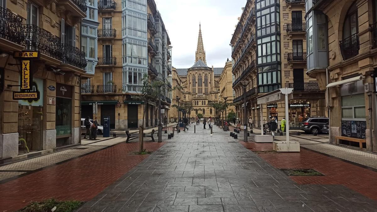 Zona de bares de la calle Reyes Católicos de San Sebastián