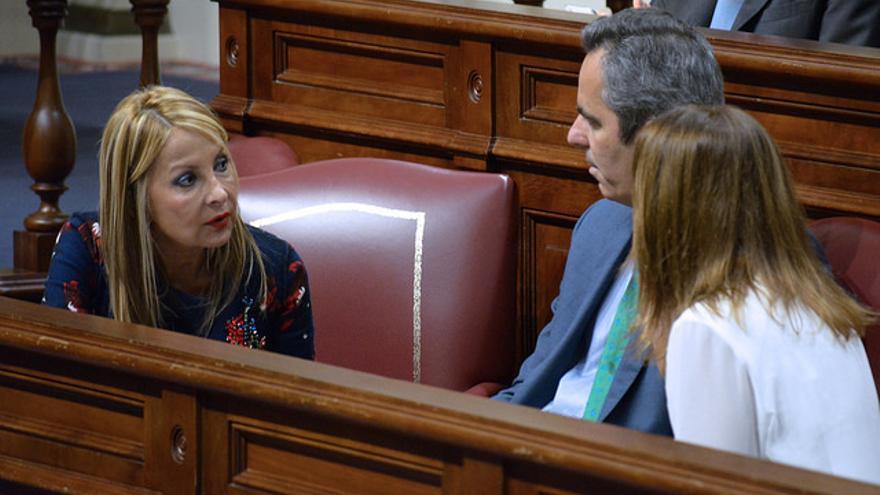 La portavoz del PP en el Parlamento de Canarias, Australia Navarro, conversa con el diputado Miguel Jorge