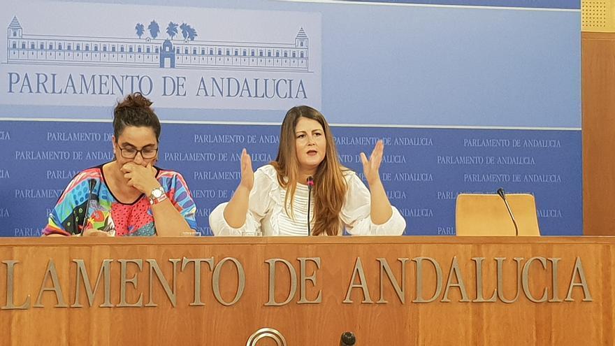 La portavoz de Adelante Andalucía en el Parlamento andaluz, Ángeles Aguilera, y su homóloga en el Ayuntamiento de Sevilla, Susana Serrano.