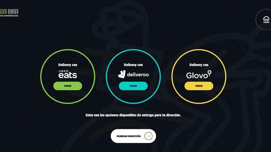 Captura de la página web de The Good Burger sobre posibilidades de reparto a domicilio en una calle del centro de Madrid.